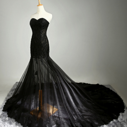 Black Bridesmaid Dress with Sweethe..