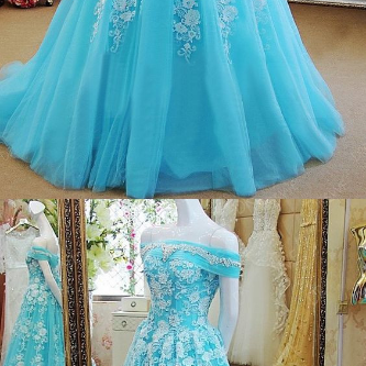 Off the Shoulder Ice Blue Formal Oc..