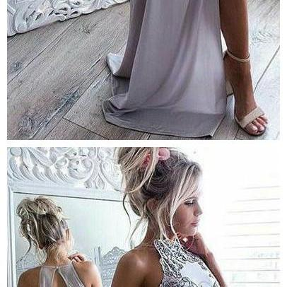 Sexy Light Grey Open Back Prom Dres..