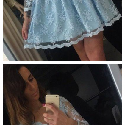 Romantic Blue Lace Long Sleeves Hom..