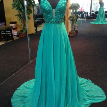 Green Chiffon Prom Dresses Long A-l..