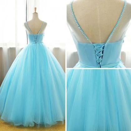 Long Party Dress,Ball Gown Lace Ap..