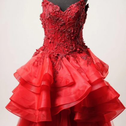 Red Lace Beaded Ruffles A-Line Long..