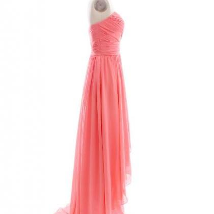 CHARMING STRAPLESS HIGH-LOW CHIFFON..