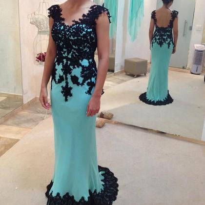 Black Lace Prom Dress Blue Prom Dre..