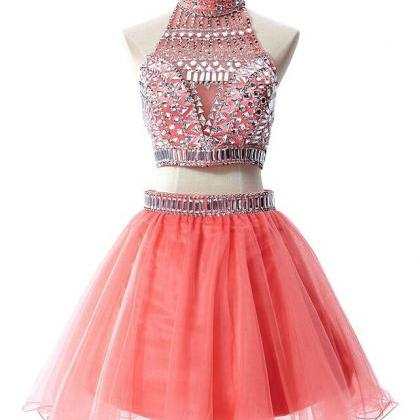 Halter Homecoming Dress TULLE PROM ..