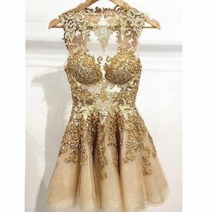 Unique Sexy Prom Dress, Champange P..