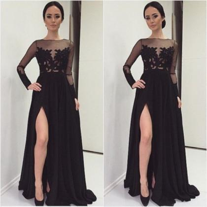 Sexy Black Evening Dress With Slit,..