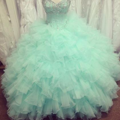 Mint Ball Gown Organza Beaded Quinc..