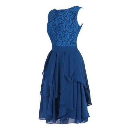 New Style Royal Blue Chiffon With L..