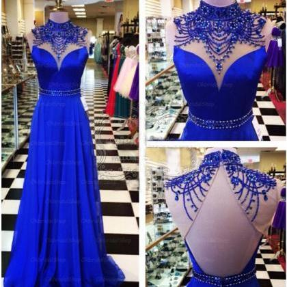 Royal Blue Prom Dresses Backless Pr..
