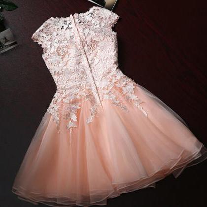 Pretty Cute Short Tulle Pink Prom D..