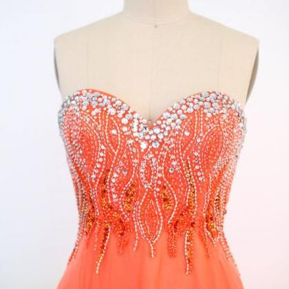 Orange Long Prom Dresses, Custom Or..