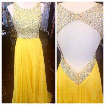 Open Back Prom Dresses, Yellow Prom..