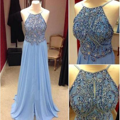 Long prom dress, blue prom dress, c..