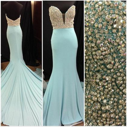 Long prom dress, blue prom dress, s..