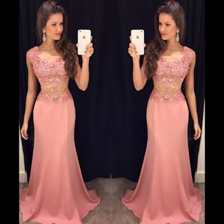 Blush Pink Prom Dresses,Lace Prom ..