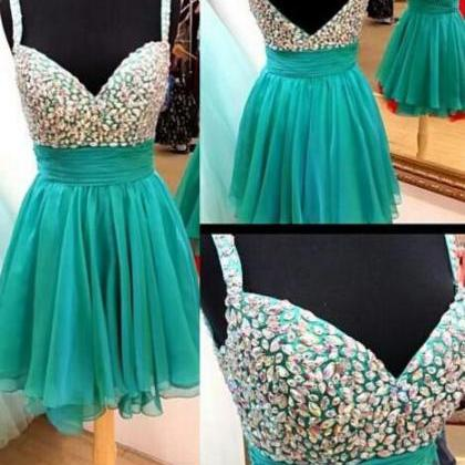 Blue Homecoming Dress,Straps Homec..