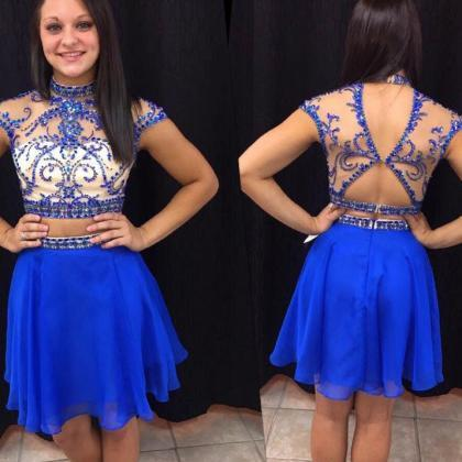 Royal Blue Homecoming Dress,Short P..