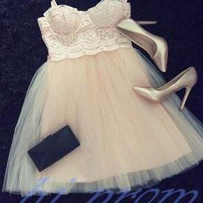 Lace Homecoming Dress,Champagne Pr..