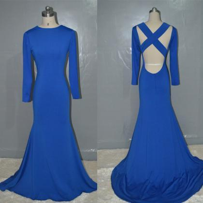 Royal Blue prom dress,Fashion merma..