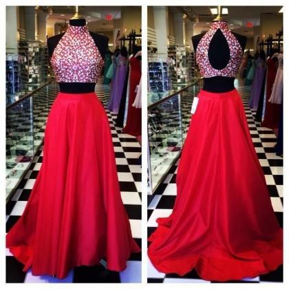 Halter Prom Dress,Beaded Prom Dress..