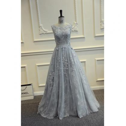 Real Photos Grey Long Prom Dresses ..