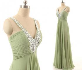 V-Neck Green Long Pr..