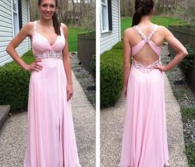 long prom dress, pin..