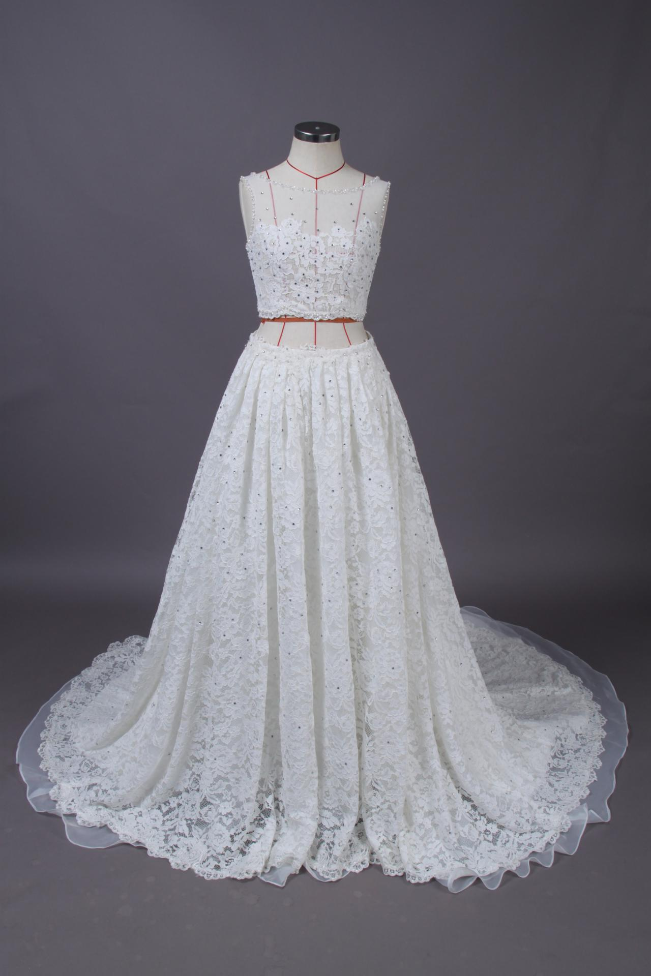 Two Pieces Wedding Dress,Long Wedding Dresses, Wedding Dress,Wedding Dress,Wedding Gown,Bridal Gown,Bride Dresses, A-line Wedding Dress,Lace Wedding Dress,Beaded Wedding Gown,Crystal Wedding Gown
