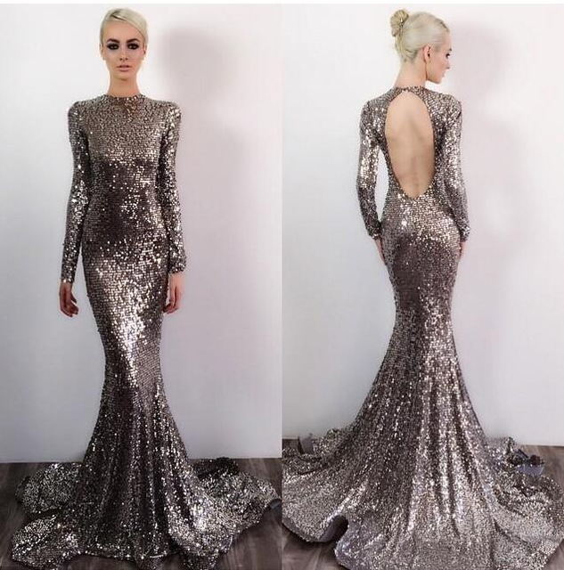 Sequin Prom Dresses,Prom Dress,Backless Evening Gown,Long Formal ...