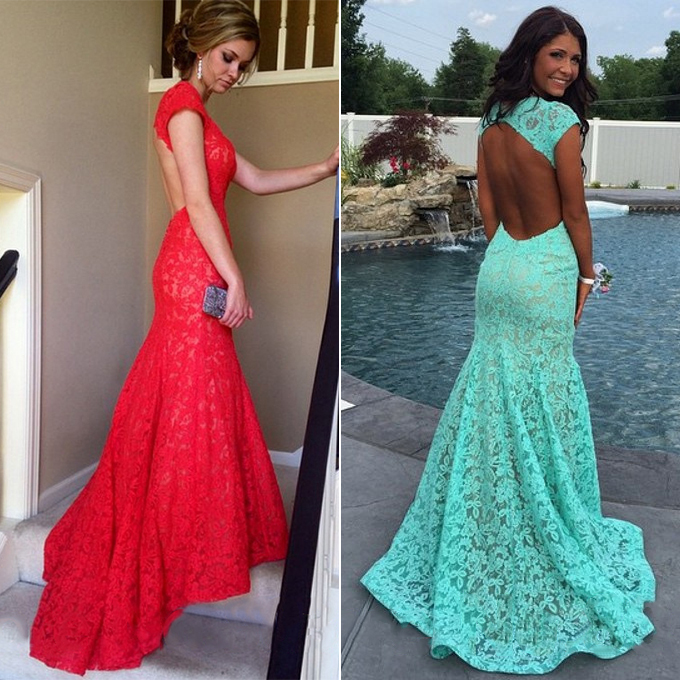 Red Lace Homecoming Dresses