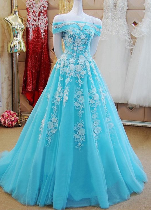 Off the Shoulder Ice Blue Formal Occasion Dress