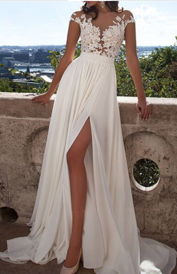 Cap Sleeves Lace prom dress, Bodice High Split Wedding Dresses, Bridal Gowns prom dress