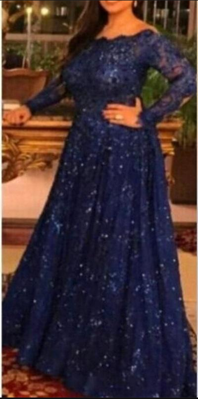 8b70c5ced525 New Arabic Long Sleeve Lace Muslim Evening Dresses Capped Off the Shoulder Prom  Dress Royal Blue