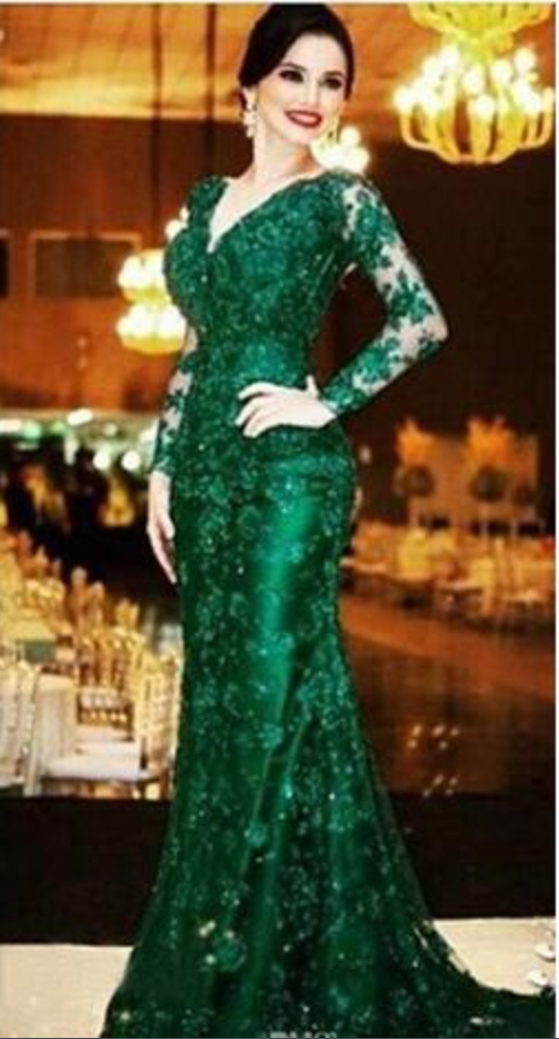8dc0a97c08 Dark Green Full Lace Mermaid Evening Dresses Sexy Illusion Back Beaded V  Neck Long Sleeve Formal