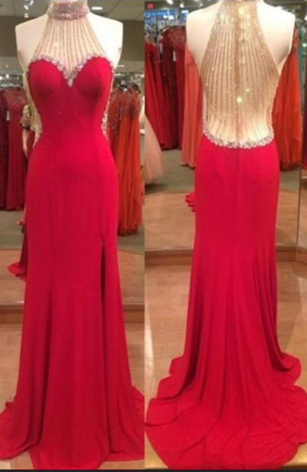 Fashion Long Prom Dress, Halter ,Beading Party Dresses,Evening Dress,Sexy,Floor Length, Prom Dress, 2018 new fashion ,Prom Dresses