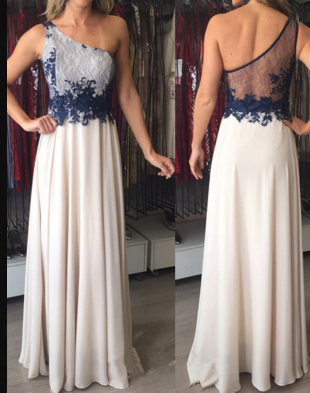 Applique Floor-Length Elegant One-Shoulder Chiffon Sleeveless Prom Dresses