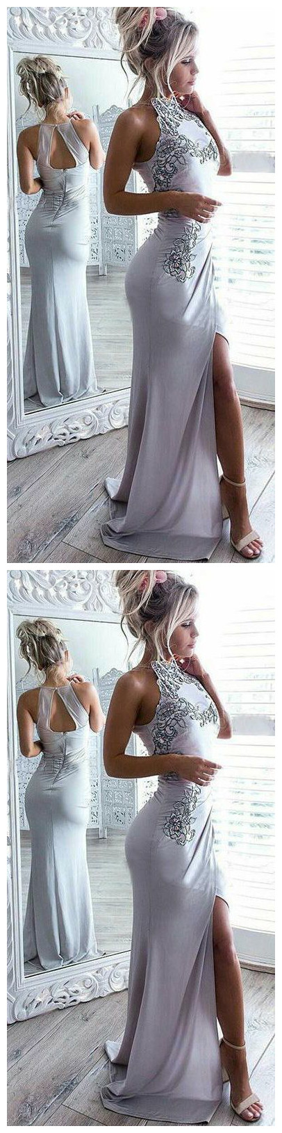 Sexy Light Grey Open Back Prom Dress with Appliques Split,Long Prom Dress,Sexy Party Dress,Formal Dress