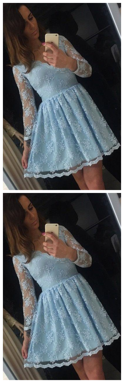 Romantic Blue Lace Long Sleeves Homecoming Dresses Short V neck illusion A line Hollow Back Designer Prom Cocktail Party dresses