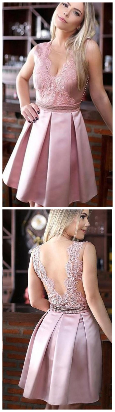 Pink V neck Cheap Homecoming Party dress Lace A line Satin Hollow Bling Crystal Ribbon Short Prom Graduation Club Dresses Gowns