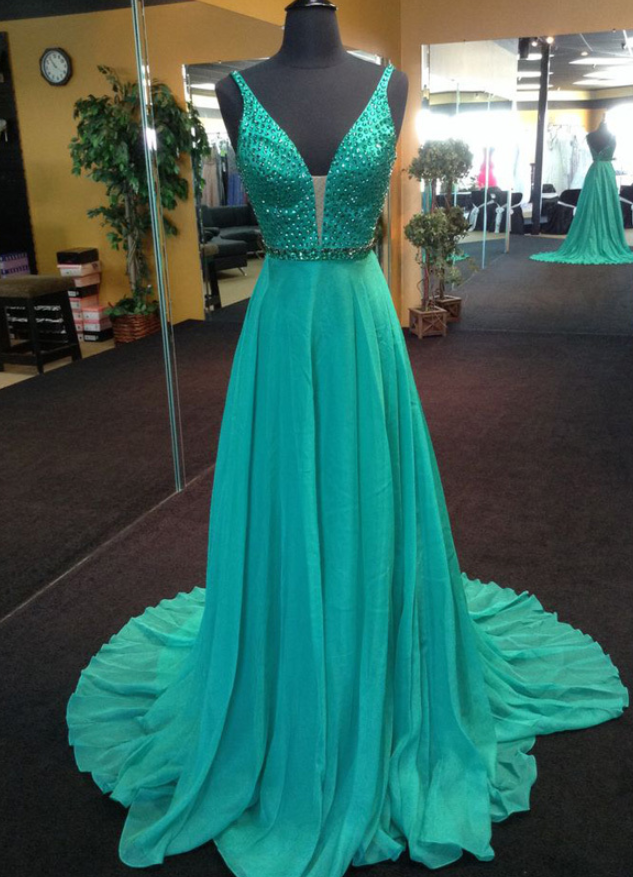 Green Chiffon Prom Dresses Long A-line Sleeveless V Neck Evening Dresses Backless Formal Gowns Beaded Party Graduation Pageant Dresses for Teens