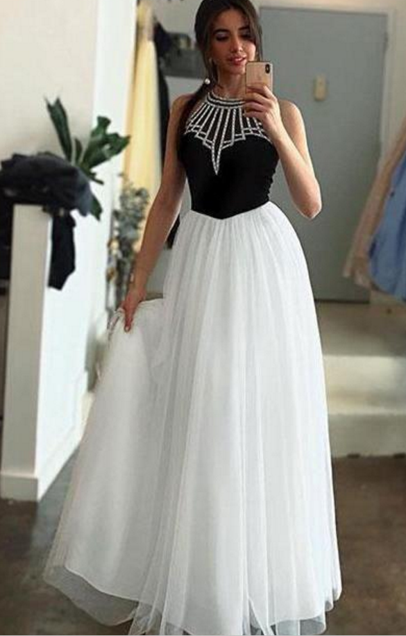 f172ba1710d4 White Tulle Halter Long Prom Dress A Line Sleeveless Long Party Dress with  Beading