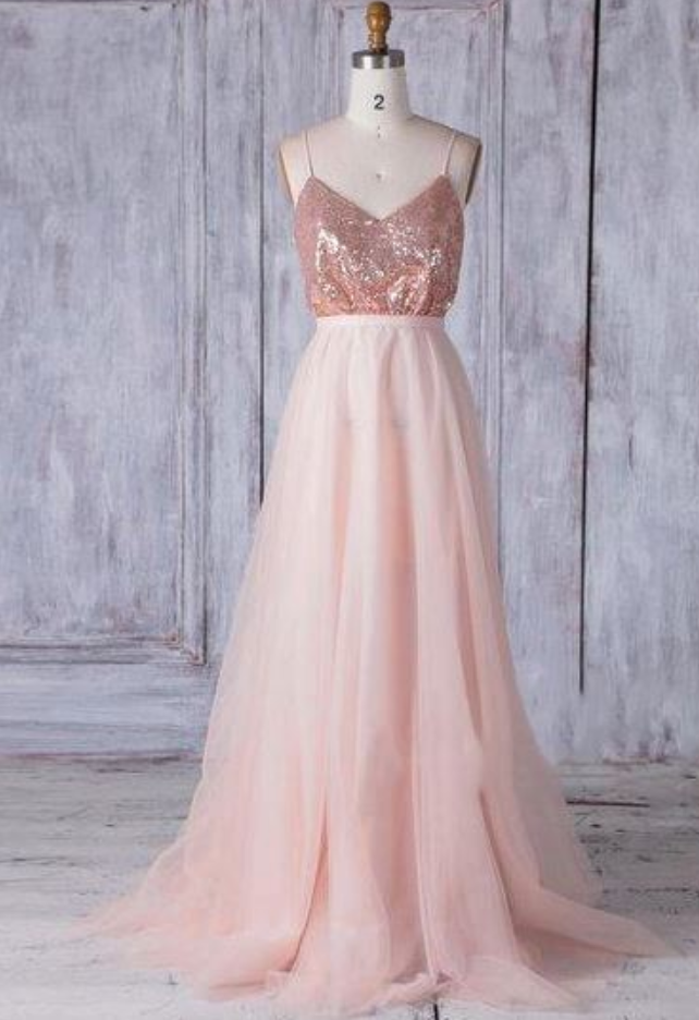 Spaghetti Straps V Neck Sleeveless Bridesmaid Dresses With Sequin