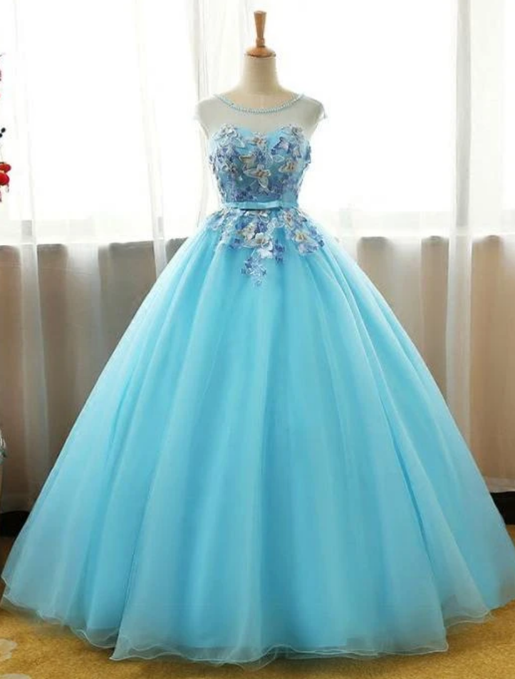 Long Party Dress,Ball Gown Lace Applique Sweet 16 Dress