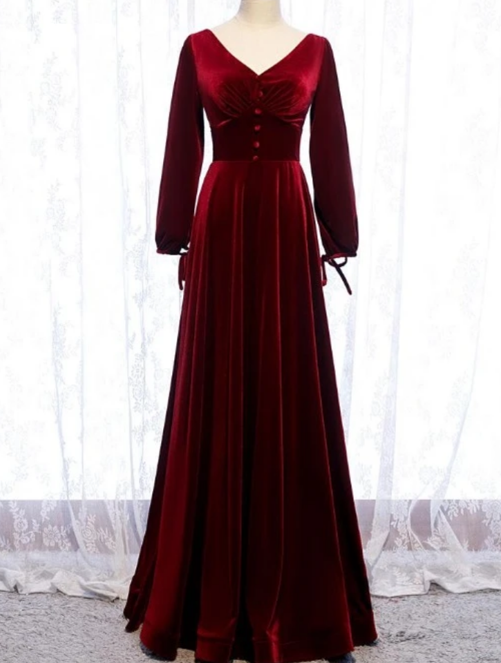 Dark Red Velvet Long Sleeves A-Line Party Dress, Bridesmaid Dress