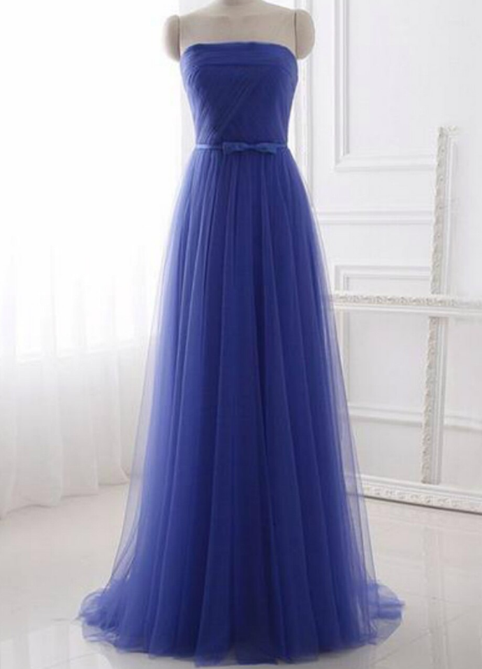 Cheap Tulle Strapless Long Simple Prom Dress With Bow