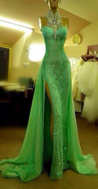 Custom Made Crystal Evening dresses Green High Neck Lace Prom Dresses With Slit Sexy Mermaid Crystal Beaded Prom Dresses
