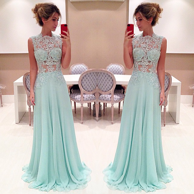 Pretty Light Blue Long Prom Dress With Applique Sexy Prom Dresses