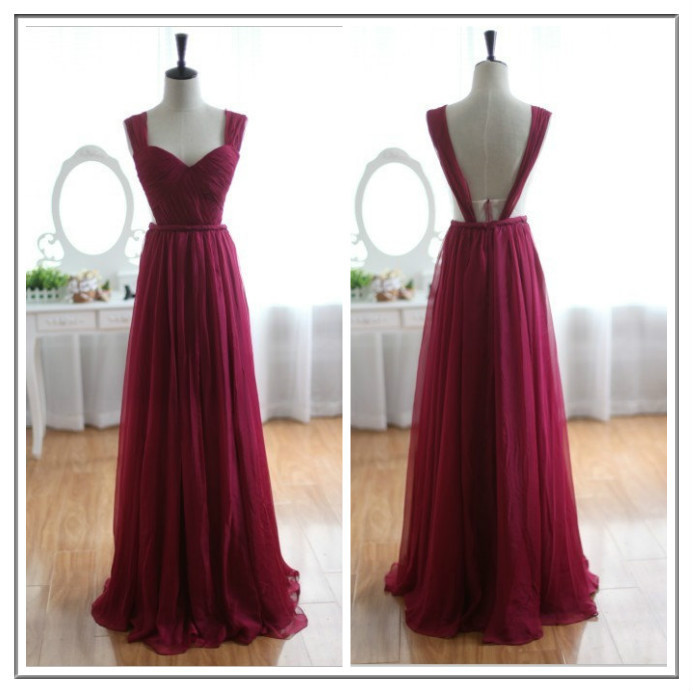 Custom Made Burgundy Prom Dresses Straps Bridesmaid Dresses Long Evening Dresses Formal Dresses Chiffon Prom Gowns Custom Party Dresses